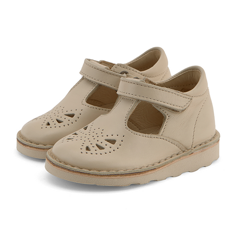 Poppy Velcro T-bar Shoes Vanilla Leather | BABY