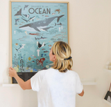 GIANT POSTER + 59 STICKERS  ANIMALS OF THE OCEANS