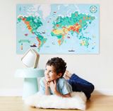 GIANT POSTER + 1600 STICKERS  WORLD MAP