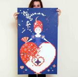GIANT POSTER + 1600 STICKERS  QUEEN OF HEART