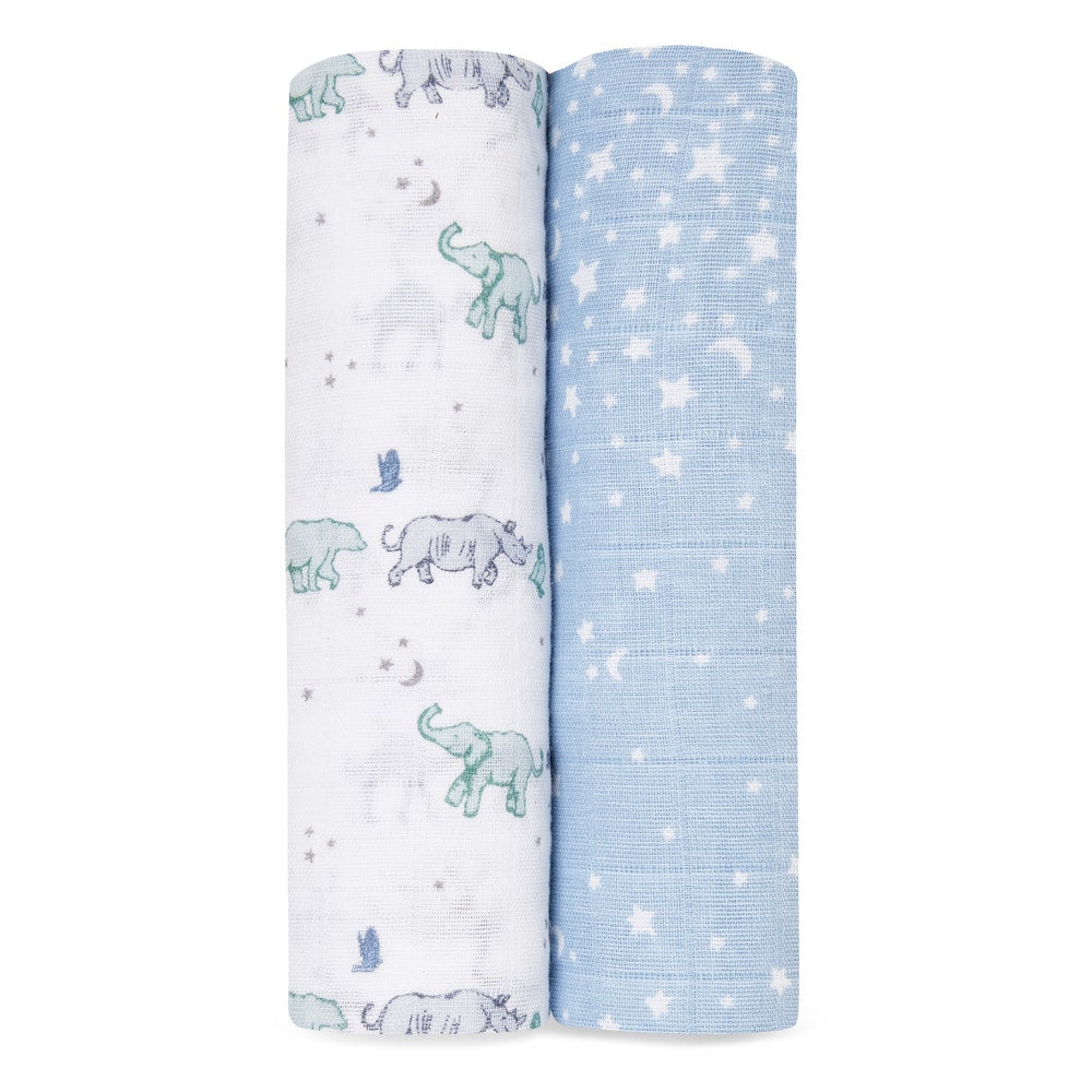 """rising star"" cotton muslin swaddles 2-pack"