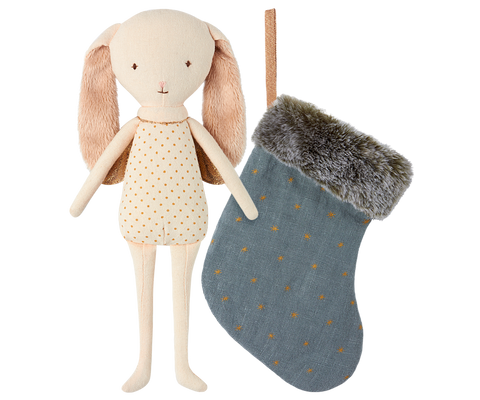BUNNY ANGEL IN STOCKING, BLUE