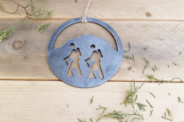 Rustic - Large Hiker Ornament - Laser cut steel - Hand finished - Made in the USA