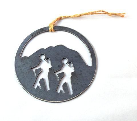 large rustic hiking christmas ornament gift