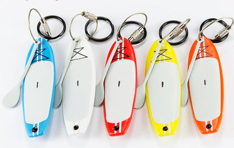 SUP - Stand Up Paddle Board Keychain - PVC Flexible Plastic and Stainless Steel Ring