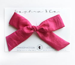 Raspberry Silk Oversized Hand Tied Bow