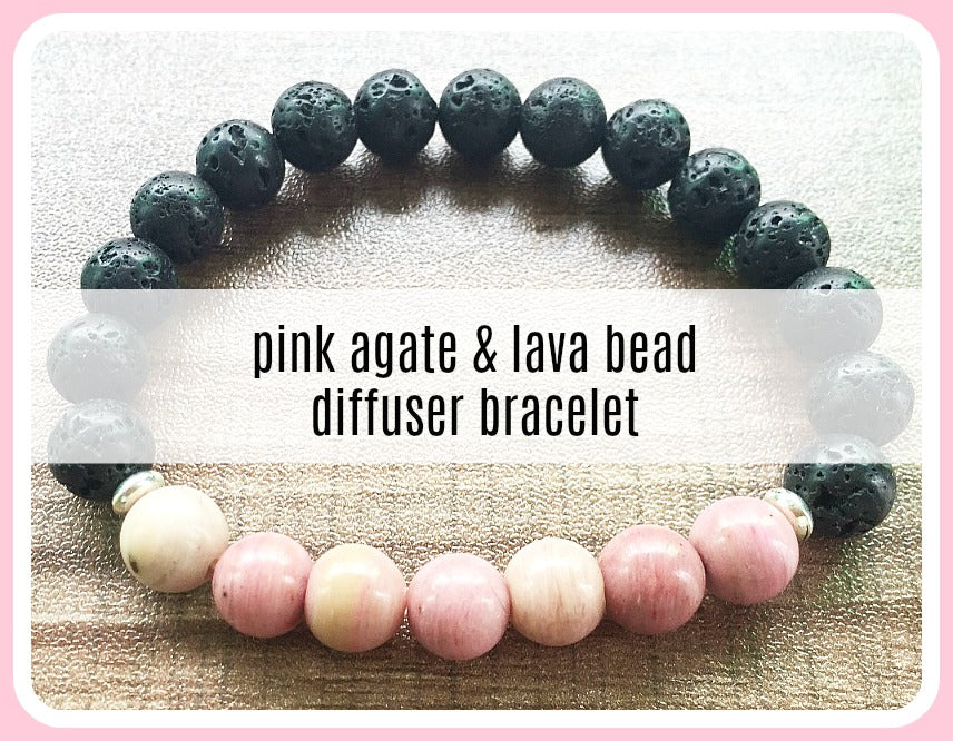 Diffuser Bracelet - Rhodonite and Black Lava Beads