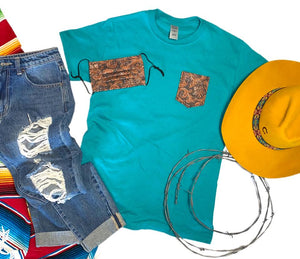 Turquoise Tooled Pocket Tee