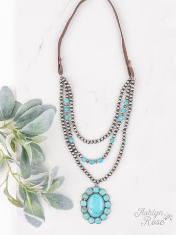 Gunpowder and Lead Turq Squash Blossom Necklace