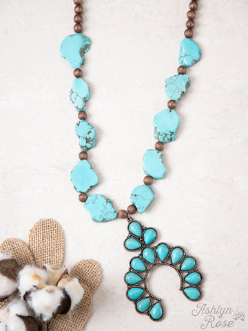 Down in the Holler Squash Blossom Necklace- Turquoise