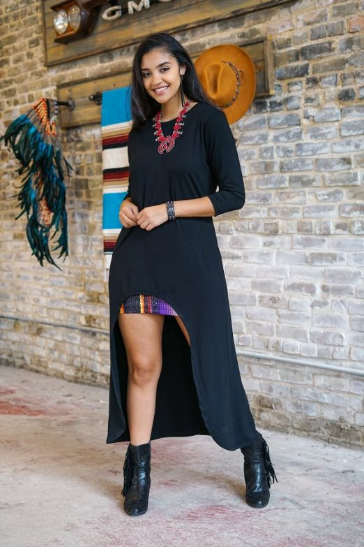 Black Scoop High Low Tunic