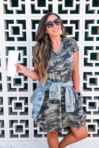Cassie Camo Pocket Dress