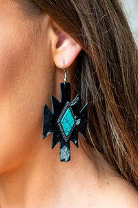 Cowhide Diamond Earrings- Black