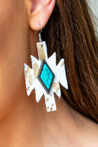 Cowhide Diamond Earrings- Cream