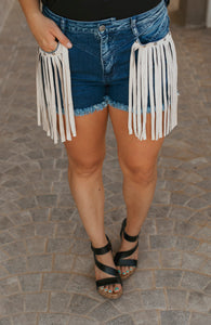 Down South Fringe Denim Shorts