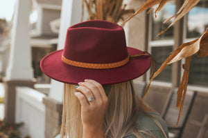 Highway Felt Hat- Burgundy