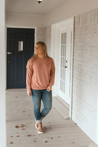 Celeste Bubble Hem Top- Brick