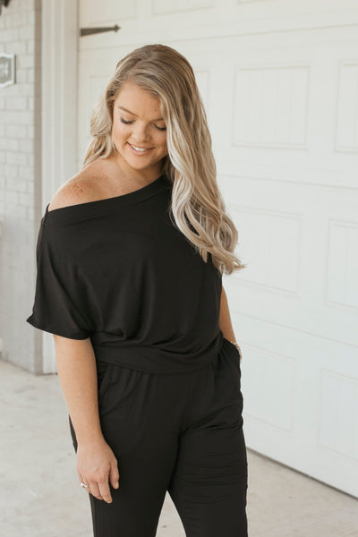 Trendy Black Jumpsuit- Short Sleeve