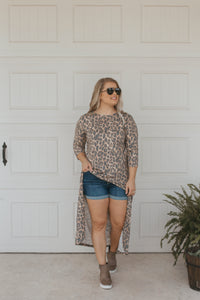 Vintage Leopard Scoop High Low Tunic