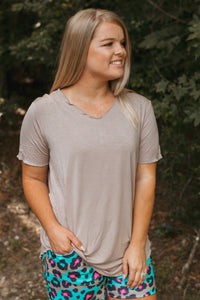 Butter Basic Top- Taupe
