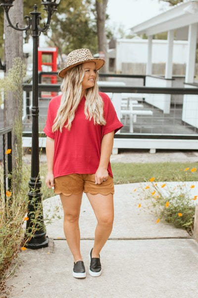 Suede Scalloped Shorts (Camel)