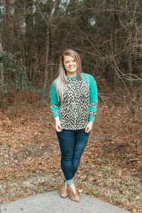 Sitka Leopard Top (Turquoise)