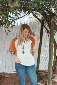 Tan and Leopard Ruffle Blouse