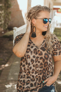 Littleton V neck Leopard Top