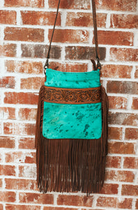 The Aurora Cowhide Crossbody (Turquoise)