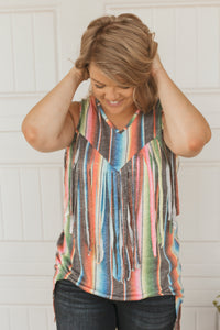 Black Serape V Neck Top