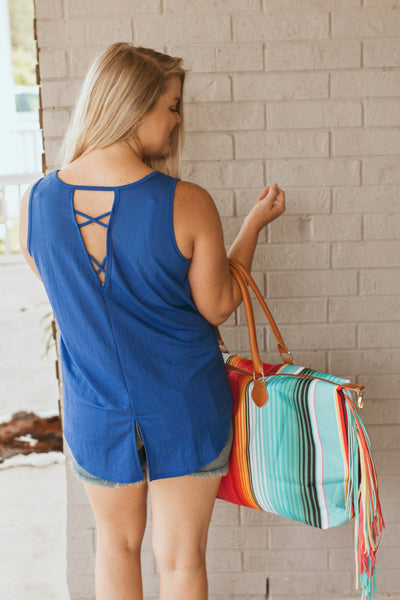 The Skye Back Criss Cross Tank (Blue)