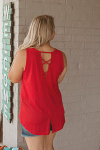 The Skye Back Criss Cross Tank (RED)