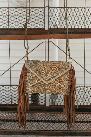 Altoona Tooled Envelope Crossbody (Turq)