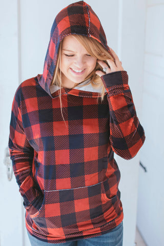 Mountain Top Hoodie (Velvet Buffalo Plaid)