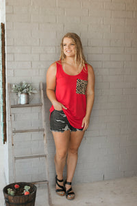 Halliee Cheetah Pocket Tank (Red)