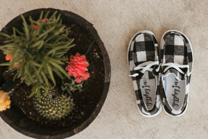 Buffalo Plaid Lace Up Sneaker (White)