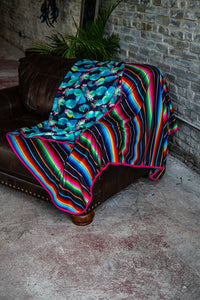 Black Cactus/Denim Serape Fleece Blanket
