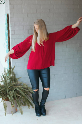 Bubble Sleeve Top (Maroon)