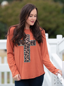 Leopard Print Cross LS Top
