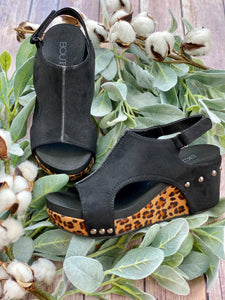 The Carley Leopard Wedge- Black