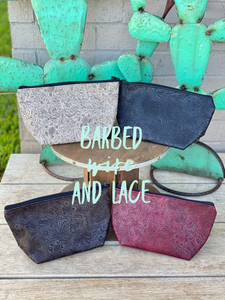 Laredo Small Cosmetic Tooled Bags