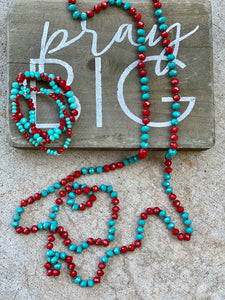 Keithville Turq and Red Jewelry Set