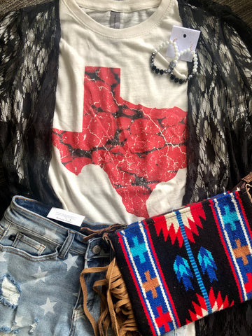 Red Marble Texas Tee