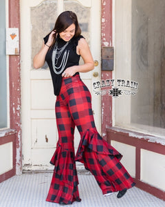 Retro Ruffle Flares (Buffalo Plaid)