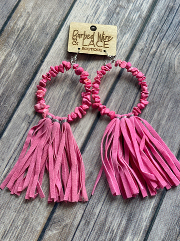 The Hot Pink Stone Earrings