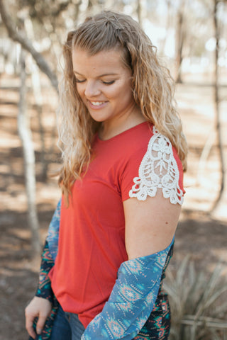 Adeline's Crochet Shoulder Top (Tomato Red)
