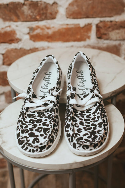 Heather Lace Up Sneaker (White Leopard)