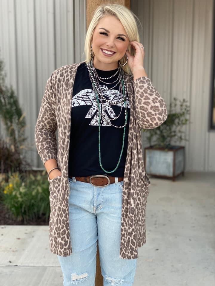 Brown Fuzzy Leopard Cardigan