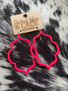 Sadie Earrings (Neon Pink)