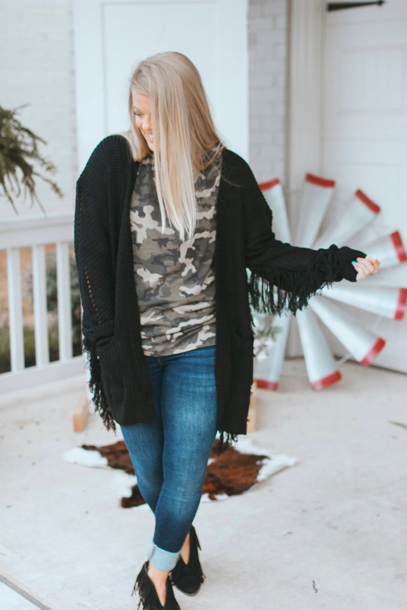 Black Fringe Cardigan